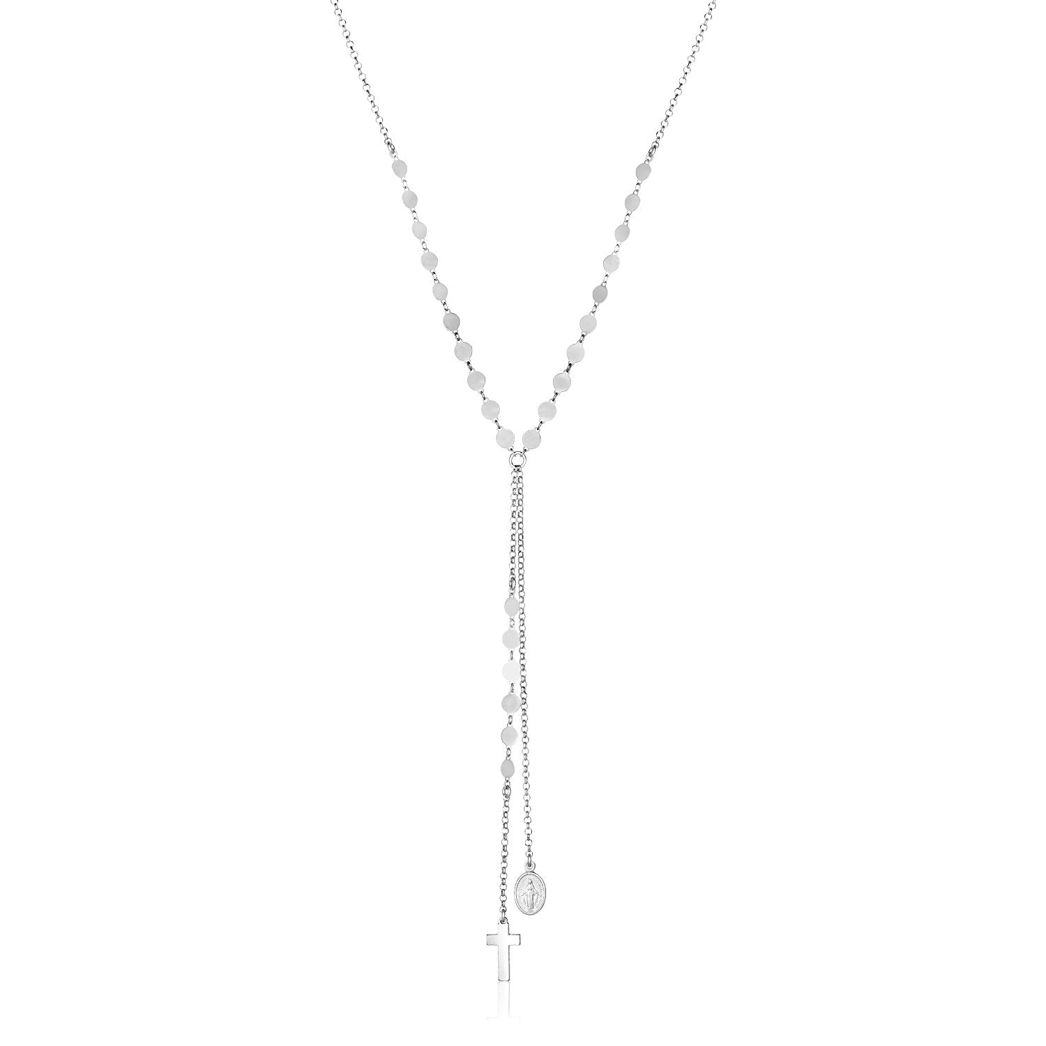 Sterling Silver 18 inch Lariat Necklace with Cross and Religious Medal