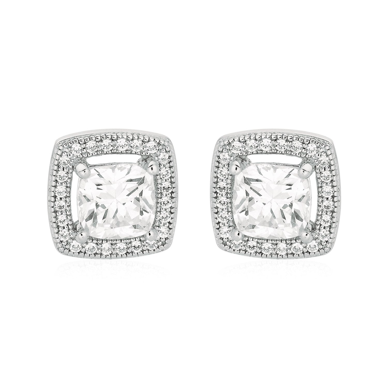 Cushion Earrings with Cubic Zirconia in Sterling Silver