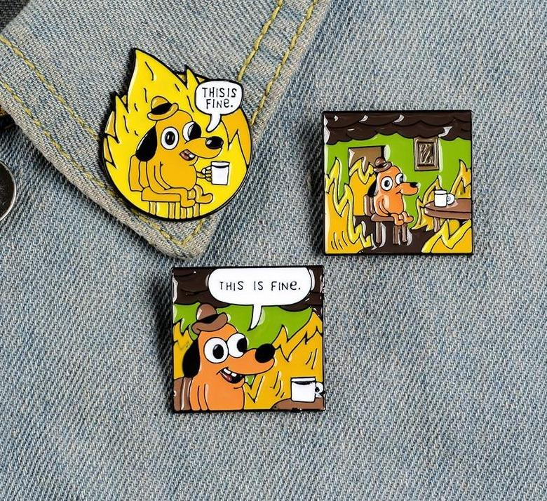 THIS IS FINE Enamel Pin Set - Pinovations