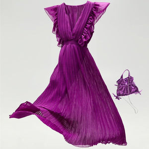 Pleated Ruffled Summer Dress