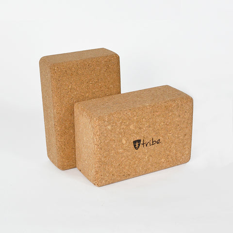 Tribe Cork Yoga Blocks - standard size horizontal in foreground with slim size vertical in background | TRIBE Yoga