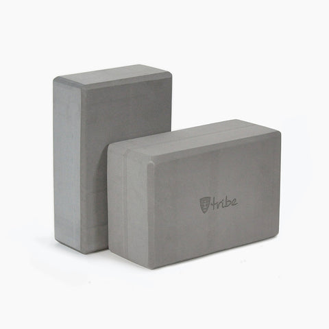Tribe Foam Yoga Blocks - standard size horizontal in foreground with slim size vertical in background | TRIBE Yoga