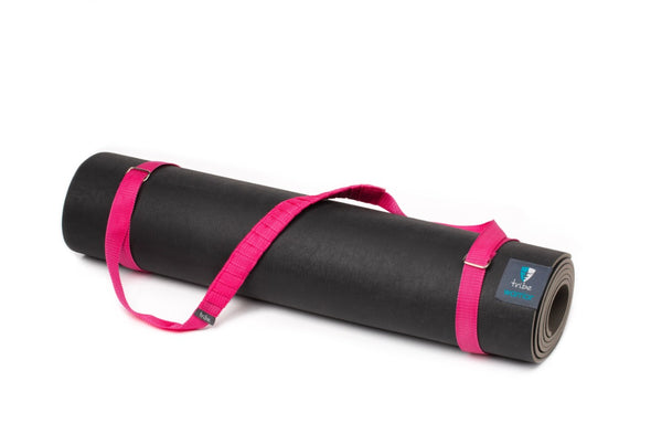 Carry Me Mat Sling - Fushia - attached to a Warrior yoga mat | TRIBE Yoga