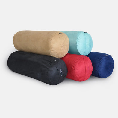 Round Bolsters - group shot of Taupe, Pacific, Cosmos, Cherry, Navy | TRIBE Yoga