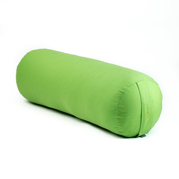 Round Bolster - Organic Cotton Cover - Lime - 45 degrees angle | TRIBE Yoga