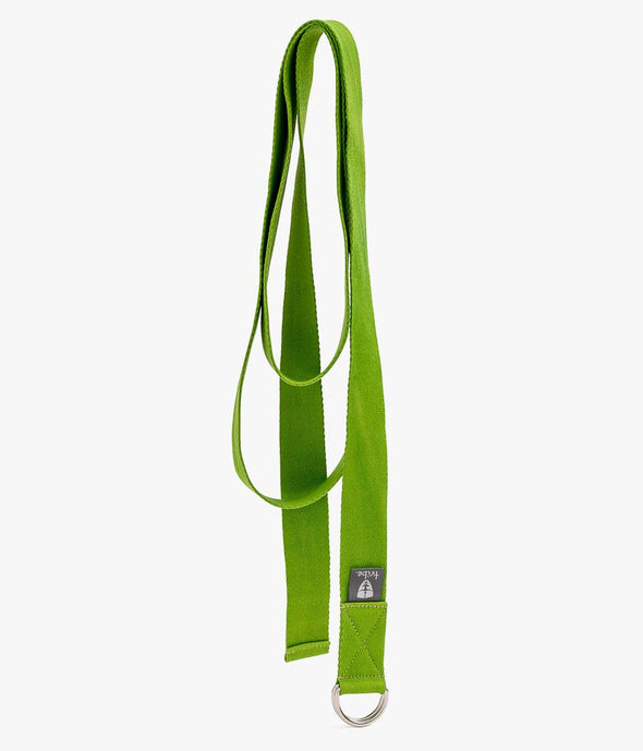 Cotton Strap - Lime - Unrolled | TRIBE Yoga
