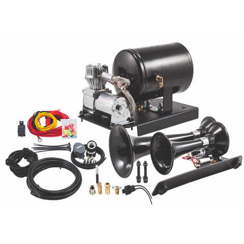 GM 1500 Under Hood Train Horn Kit with Model 220 Dual Train Horns - Silverado, Sierra, Tahoe, Yukon, Escalade