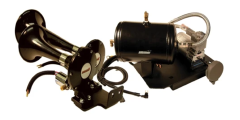 "The ""Chevy Shaker™"" GM 1500 Plug-N-Play Under Hood Train Horn Kit with Model 220 Dual Train Horns"