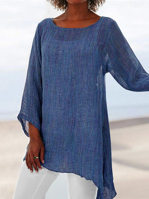 Asymmetrical Hem Long Tunic Shirts