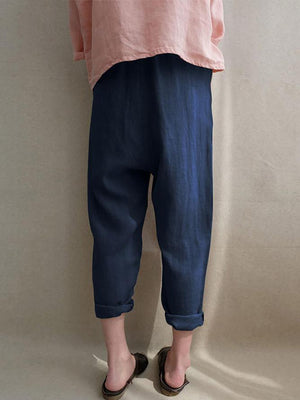 Casual Pockets Cotton Solid Plus Size Pants