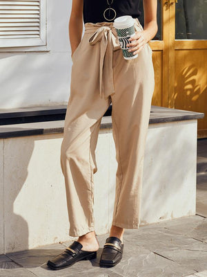 Khaki Plain Women Pants