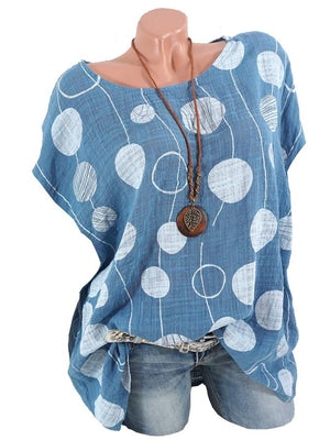 Batwing Polka Dots Cotton T-Shirts