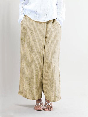 Women Linen Cotton Striped Pockets Plus Size Pants