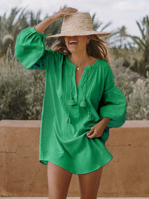 Solid V Neck Loose Casual Shirt Dresses