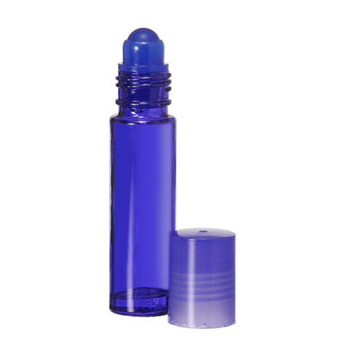 10 ml Roll On Bottles with Plastic, Glass or Metal Rollerballs and Matching Caps in Assorted Colors