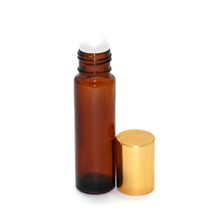 Amber glass roll on bottles, Plastic rollerballs, Gold bottle caps, 10ml