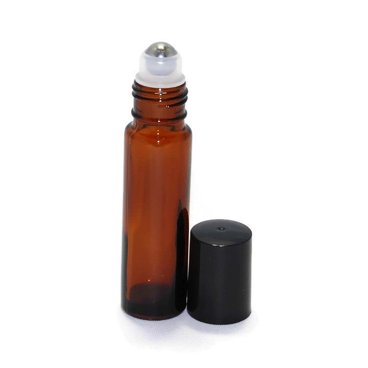 Amber glass roll on bottles, Metal rollerballs, Black bottle caps, 10ml