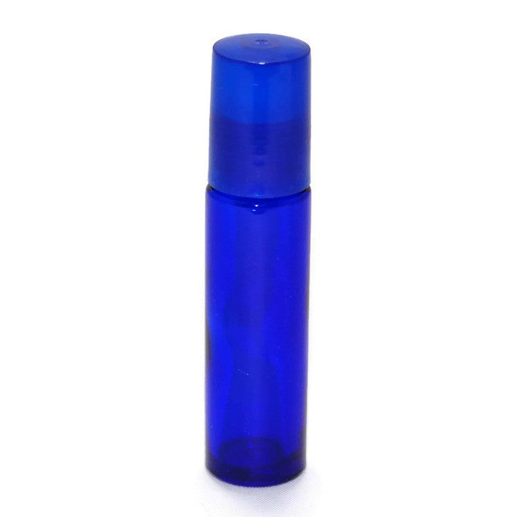 Blue Glass Roll On Bottles, Metal Rollerballs, Blue Caps, 10ml size