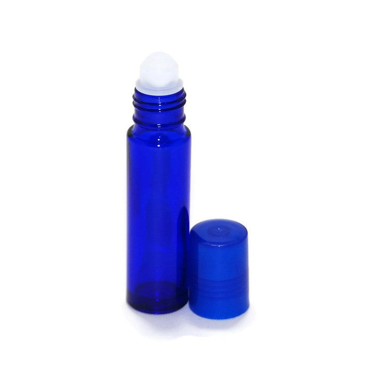 Blue Glass Roll On Bottles, Plastic Rollerballs, Blue Caps, 10ml size