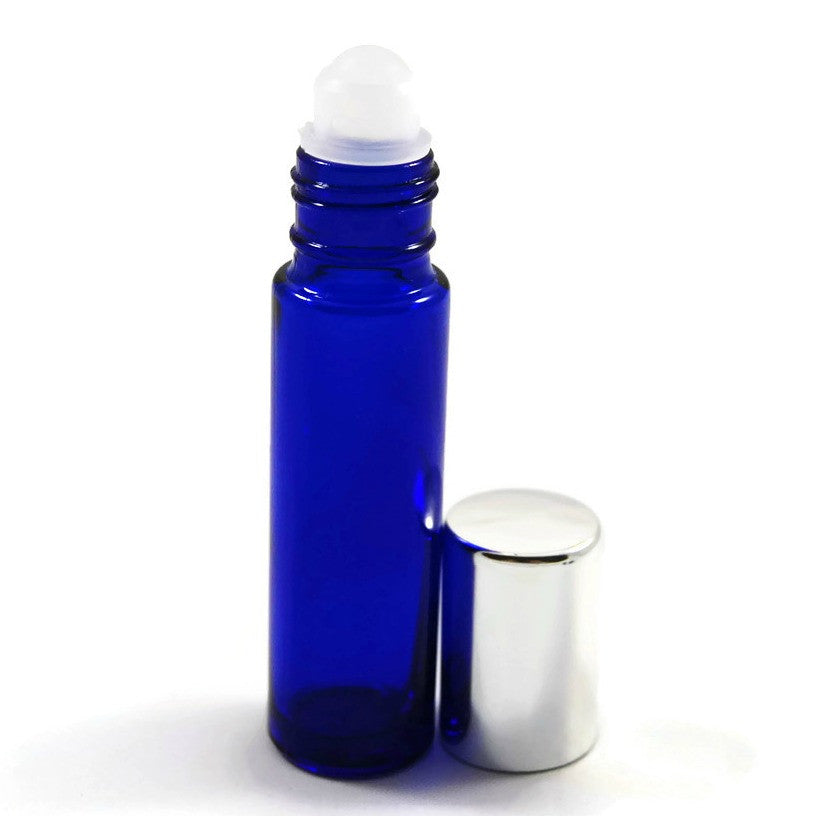Blue Glass Roll On Bottles, Glass Rollerballs, Silver Caps, 10ml size