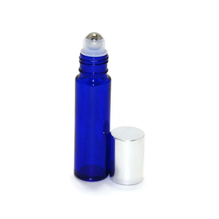 Blue Glass Roll On Bottles, Metal Rollerballs, Silver Caps, 10ml