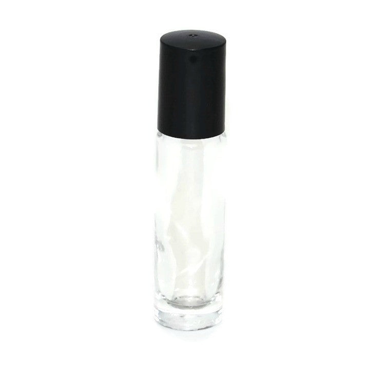 Clear glass roll on bottles, Plastic roller tops, Black bottle caps, 10ml size