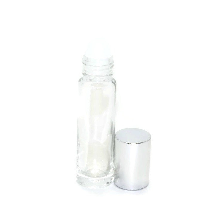 Clear glass roll on bottles, Plastic rollerballs, Silver bottle caps, 10ml