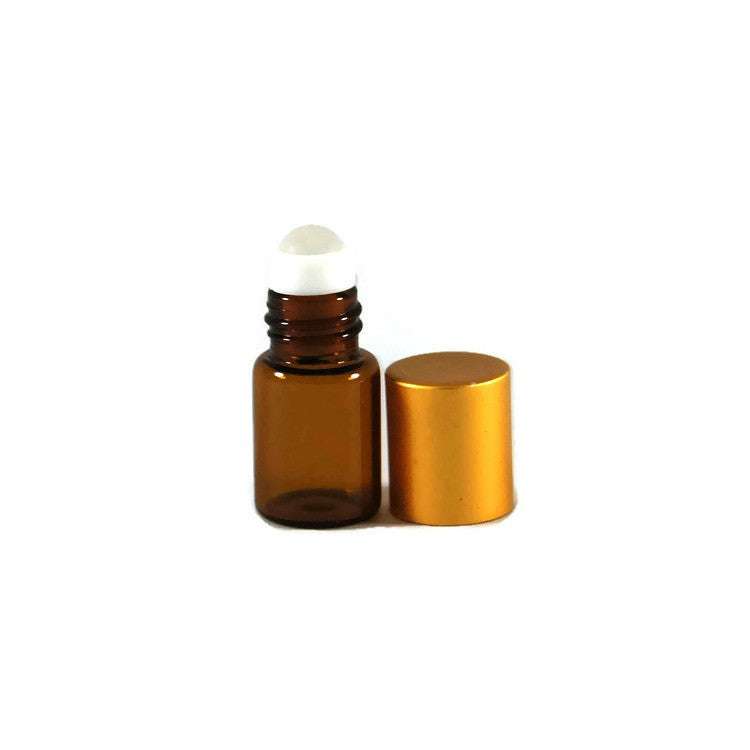 Amber Mini Roll On Bottles, Glass Rollers, Gold Matte Metal Caps, 2ml
