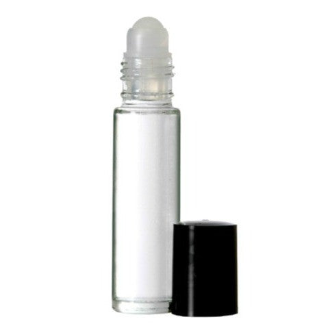 Clear glass roll on bottles, Glass roller tops, Black bottle caps, 10ml