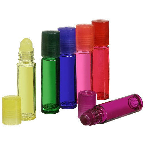 10ml Roll On Bottles in Assorted Colors, Plastic, Glass or Metal Rollerballs, Matching Caps, 12 Bottles