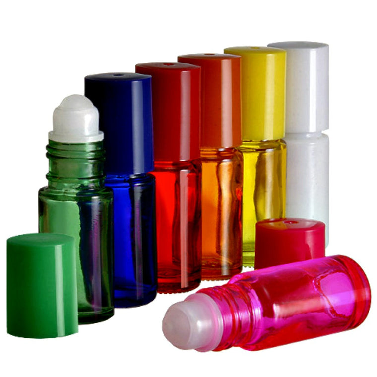 5 ml Roll on Bottles w/ Plastic, Glass or Metal Rollerball Matching Caps in Assorted Colors 6 Bottles