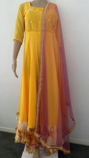 Yellow Anarkarli Suit