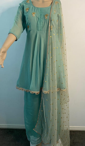 Mint Designer Embroidered Suit
