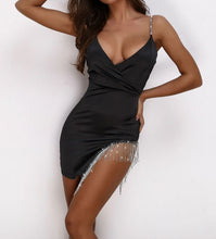 Load image into Gallery viewer, Absolutely stunning Rhinestone Satin Black Dress
