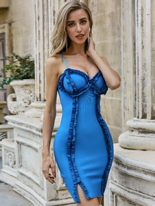 Amazing Chic Super Sexy Bright Blue Dress