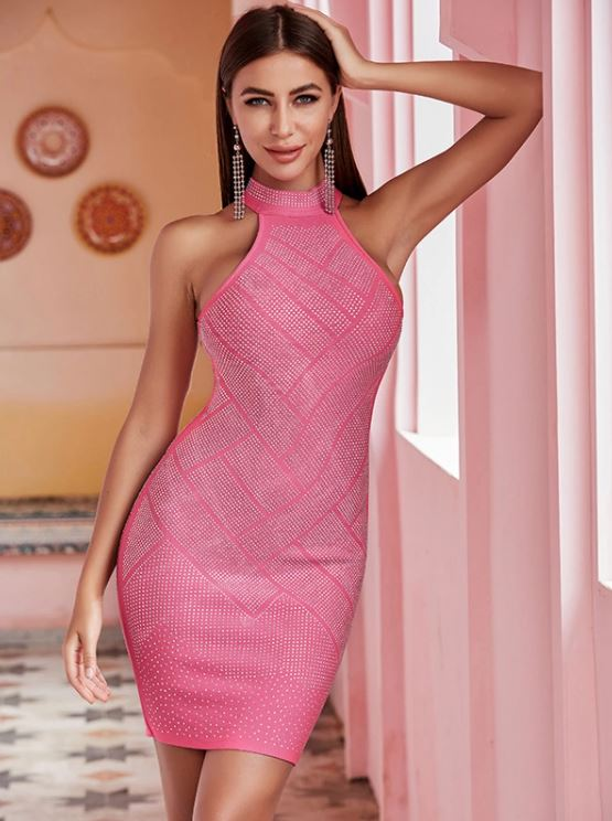 Amazing Elegant And Flattering Pink Rhinestone Halter Dress