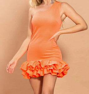 Sexy One Shoulder Ruffle Hem Orange Dress