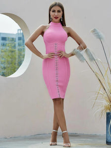 Amazing Elegant And Flattering Pink Halter Dress