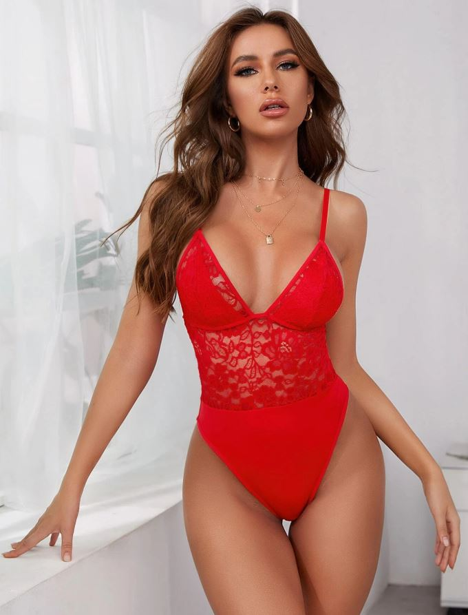 Beautiful, Sexy lace bright Red Teddy
