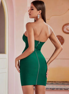 Amazing Chic Strapless Green Dress