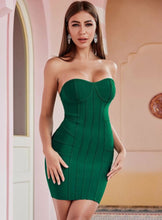 Load image into Gallery viewer, Amazing Chic Strapless Green Dress