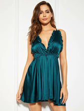 Load image into Gallery viewer, Beautiful Chic Teal Blue Satin Babydoll