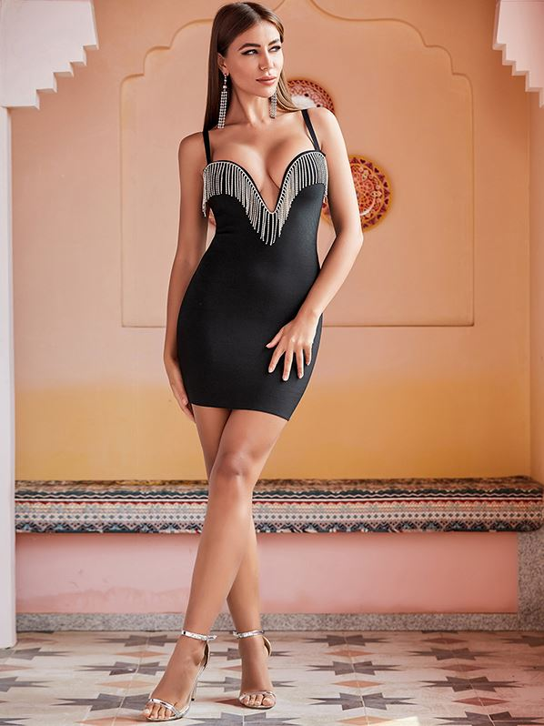 Elegant Sexy Black Rhinestone Dress