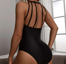 Load image into Gallery viewer, Sexy Striped Contrast Mesh Halter One Piece Swimsuit