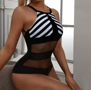 Sexy Striped Contrast Mesh Halter One Piece Swimsuit