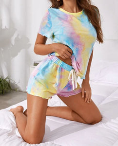 Charming Tie-Dye Two Pieces Pajama Short Set