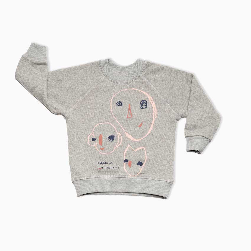 Sweat Enfant coton bio Gris chiné Bonnes têtes par Bonnefamilles slow fashion