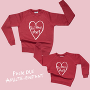 Pack Duo Adulte Enfant Sweats Toi Moi Nous coton bio par Bonnefamilles Paris