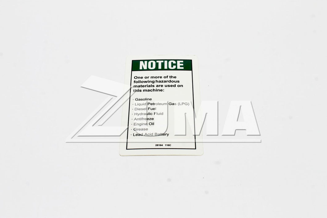 DECAL,NOTICE,HAZARDOUS MAT'LS* (Genie Part # 28164GT OR 28164)