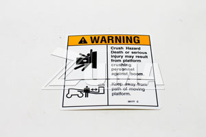 DECAL,WARN,CRUSH HAZARD PLAT (Genie Part # 28177GT OR 28177)